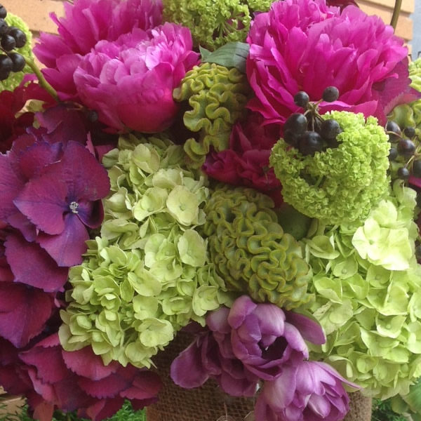 pink-and-green floral arrangement